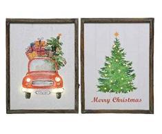 Kaemingk Cornice LED in Legno Fantasie Natalizie 2Ass Natale Decorazioni, Multicolore, 8719152939107