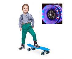 Relaxdays 10022265_45 Skateboard per Bambini, 22 Pollici, Luci a LED, ABEC 7, Trucks in Allumio, Ruote in Gomma, Blu