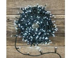 Catena 53 m, 750 miniled bianco freddo, cavo verde, controller 7 giochi, luci decorative, luci natalizie