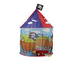 Relaxdays Tenda Gioco per Bambini con Pirati casetta Bimbi da 3 Anni con Bandiera Pirata H x D 130 x 100 cm, Rosso-Blu