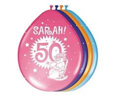 Folat 22455 Sarah Super Party Palloncini per 50° compleanno, 8 pezzi, multicolore