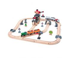 Hape International- Mining Loader Set Pista Treno Miniera con Gru, Multicolore, Taglia Unica, E3756