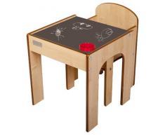 Little Helper FS01MC - Set composto da banco e sedia in legno per bambini, con portamatite, 24m+, colore: Neutro