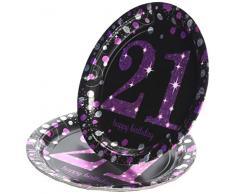 Amscan 9900588 - Piatti di carta con decorazioni brillanti, 23 cm, per 21° compleanno