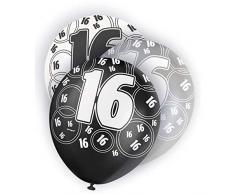 Shatchi Balloons GLITZ-16TH - Palloncini in lattice, per diciottesimo compleanno, colore: nero e argento, confezione da 6