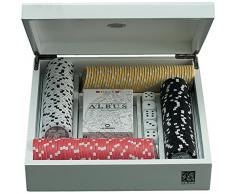 Juego JU00080 Albus Unicorno Gioco di Poker Cofanetto in Legno Laccato Bianco