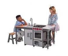 Kidkraft 53420 Chef'S Cook N Create Island - Cucina Giocattolo in Legno, con Luci e Suoni, Dotata di Macchina del Ghiaccio, per Bambini, con Sistema di Montaggio EZ Kraft Assembly