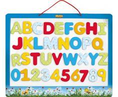 LENA 65821 Lavagna Magnetica per apprendimento, con 26 Lettere magnetiche e 10 Numeri magnetici, Motivo: Ape Maia, con Tutte Le Lettere ABC e Numeri da 0 a 9 44 cm, dai 3 Anni