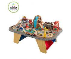 KidKraft 17498 Set treno e tavolo giocattolo in legno per bambini Waterfall Junction con 112 pezzi inclusi
