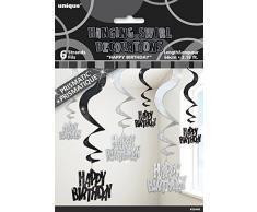 Unique Party 55446 66 cm Stelle Filanti Pendenti Decorazioni per Compleanno, Confezione da 6, Nero Brillante