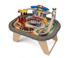 KidKraft 17564 Set Treno e Tavolo Giocattolo in Legno per Bambini Transportation Station con 58 Pezzi Inclusi