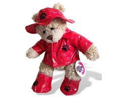 Costruisci il tuo Orsi armadio da 15 pollici Abbigliamento Fit Orso Raincoat / cappello e stivali (Red)