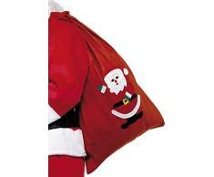 Smiffys- Smiffys Sacco di Babbo Natale, Rosso, con Decorazioni e Coulisse, 35.4 x 23.6 per Adulti, Rosa, 24497