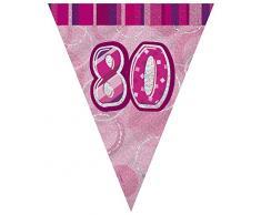 Unique Party 90958 - 2,7 m Foil Rosa Brillante Bandierine di 80° Compleanno