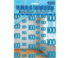 Unique Party 55384 - 1.5 m Decorazioni da Appendere per 100° Compleanno Blu Brillante, Confezione da 6