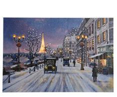 Kaemingk Canvas con Scenario Parigino con LED Bianco Natale Decorazioni, Multicolore, 8719152355099