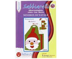 Sabbiarelli Sand-it for Fun - Album 3D Minbox di Natale: 5 Disegni Adesivi da Colorare con la Sabbia (Non Inclusa), Adatto per Bambini Anni 5+