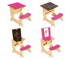 Little Helper - Scrivania per bambini 3-6 anni 4-in-1, in legno, lavagna e cavalletto incl., colore: Acero/ Fucsia