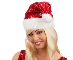 Carnival Toys 9712 – Cappello di Babbo Natale con paillettes e peluche, misura universale, universale, Rosso