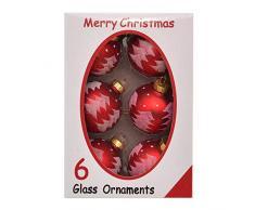 Shatchi 15643-BAUBLES-RED-6 palle per albero di Natale, in vetro, dipinte a mano, colore rosso