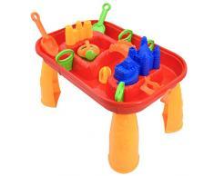 deAO - Tavolo per bambini per giocare con sabbia e acqua, per attività all'aperto – 12 accessori, creatore di onde e coperchi inclusi