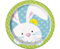 18-Piattini per festa, motivo: coniglietto di Pasqua, confezione da 8