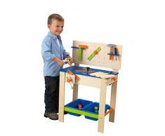 KidKraft 63329 Banco da Lavoro Deluxe in Legno per Bambini con Set di Attrezzi Giocattolo e Tavolo di Attività