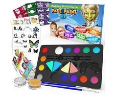Desire Deluxe Kit Truccabimbi Set Colori per Il Viso Tavolozza con Glitter, Stencil e Tatuaggi per Bambini, Ragazzi e Ragazze Regalo Perfetto per Halloween, Natale, Compleanno e Feste