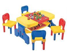 Liberty House Giocattoli per bambini tavolo da picnic con Building Block superiore e sedie set