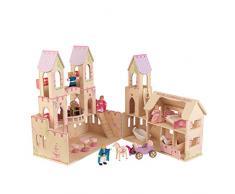 KidKraft 65259 Casa delle Bambole in Legno Princess Castle per Bambole di 12 Cm con 17 Accessori Inclusi e 3 Livelli di Gioco