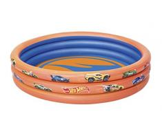 Best Way 3 Anelli Hot Wheels Cm 122X25 con Fondo Disegnato Piscina Gioco 527, Multicolore, 6942138934465