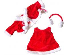 Costruisci il tuo Orsi armadio da 15 pollici vestiti adatti a costruire Bear Dress Natale Paraorecchi (Red)
