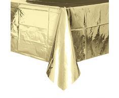Lamina d oro tovaglia di plastica, 2,7 x 1,4 m