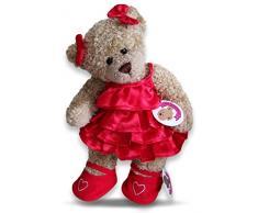 Costruisci il tuo Orsi armadio da 15 pollici vestiti adatti a costruire Orso Frilly Dress e archi (Red)