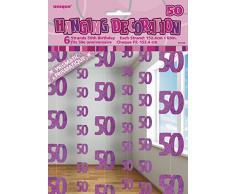 Unique Party 55326 - 1.5 m Decorazioni da Appendere per 50° Compleanno Rosa Brillante, Confezione da 6
