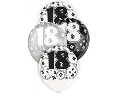 Unique Party 80892 - 30 cm Palloncini Lattice Nero Brillante e Argento per 18° Compleanno, Confezione da 6
