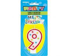 Unique Party 37319 Candela per il Compleanno Numero 9 con Glitter e Decorazione per Torte Happy Birthday