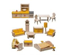 Rlke Holzspielzeug 23607 - Set mobili per casa con Balcone