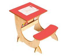 Little Helper TC/asi01 - 2 G - 4 in 1 Legno Art Station per Bambini scrivania con Lavagna e cavalletto, Colore: Rosso/Naturale
