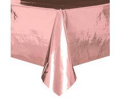 Foil oro rosa tovaglia di plastica, 2,7 x 1,4 m