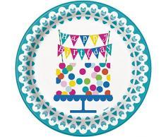 Unique Party 49603 - Tovaglia Plastificata di Compleanno con Torta a Coriandoli, 213 x 137 cm