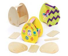 Baker Ross Kit di Cestini in Legno a Forma di Uova di Pasqua Per Bambini, Perfetti per i Lavoretti Artistici, le Creazioni Fai da Te e le Decorazioni per Bambini e Bambine (Confezione da 3)