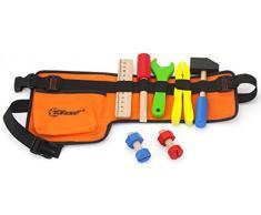 Top Race Cinghia per utensili in tessuto spesso 10 pezzi con strumenti in legno massello, gioco di ruolo per costruzione. TR-W200