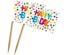 novità 2019: 50 Party Picks * Happy Birthday * Bianco con Pois Colorati - Decorazione per Compleanno e Festa - Spiedini da Pranzo Pikser stuzzicadenti