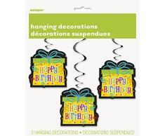 Enico 32 pollici appeso decorazioni del partito di buon compleanno (pacchetto di 3)