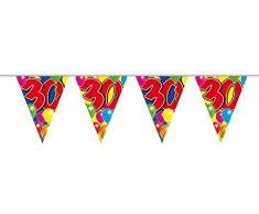 Festone con 15 bandierine Colorate per 30° Compleanno, 10 m