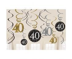 Amscan, 670481 - Decorazioni a spirale, per 40° compleanno, colore: oro