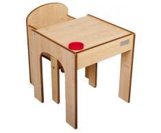 Little Helper - Set Tavolo in Legno con Sedia FunStation Originale e Porta Penne/Pennelli, per Bambini ai Primi Passi, Naturale
