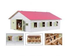 Van Manen Kids Globe Farming 610189 - Sgabello da Equitazione con 7 scatole per Cavalli, in Legno, con Tetto Pieghevole, Colore: Rosa