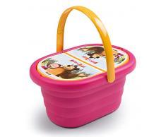 Smoby- Masha et Michka-Panier Pique Nique + 21 accessoires Cestino PIC nic Accessori, Colore Rosa, 7600310582